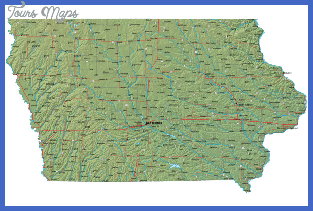 Detailed Iowa Map - IA Terrain Map