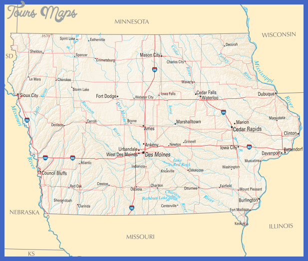 Iowa Map - blank Political Iowa map with cities