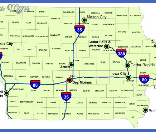 Map of Iowa (Map of Major Interstate Highways) : Worldofmaps.net ...