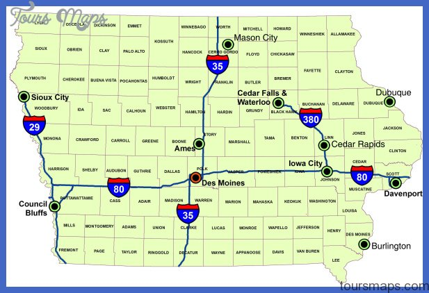 Map of Iowa (Map of Major Interstate Highways) : Worldofmaps.net ...
