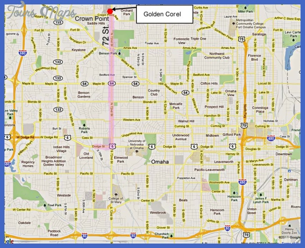 Map to Golen Corral 72nd and Crown Point Ave Omaha NE.