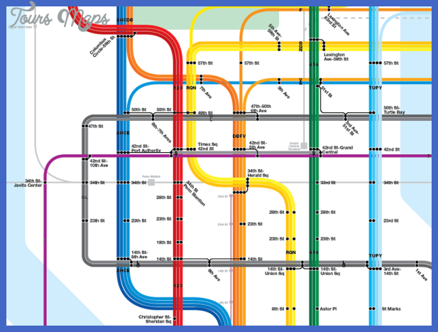 Subway diagram showing 10th Ave Subway, 7 Line to Hoboken, Bushwick ...