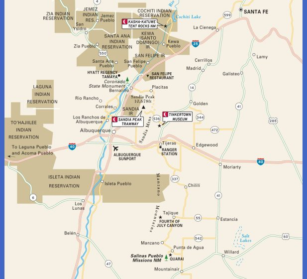 Travel Maps of New Mexico including Albuquerque, Santa Fe, and Taos.