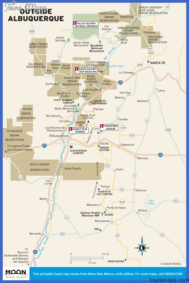 Travel Maps of New Mexico including Albuquerque, Santa Fe, and Taos.