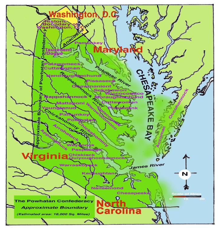 the genesis of the formation of the confederacy under the mighty chief powhattan in the early 1600s