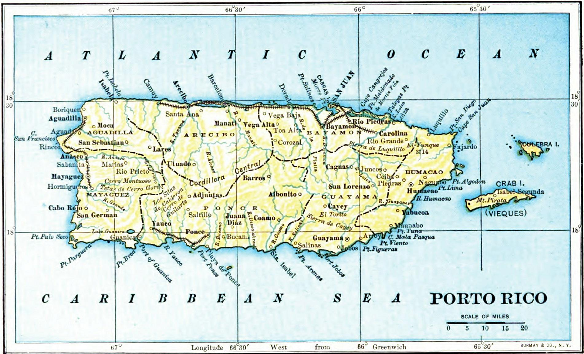 It is a photo of Comprehensive Printable Map of Puerto Rico