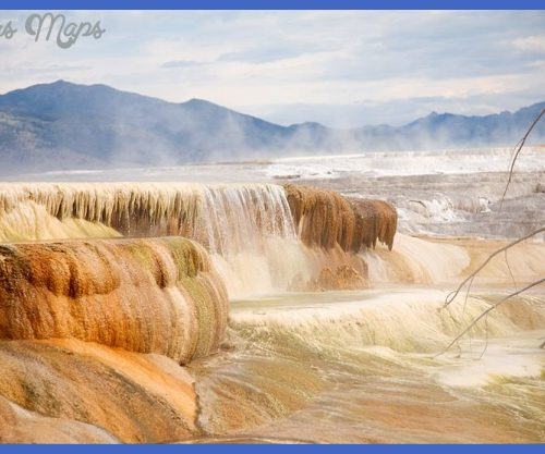 Mammoth Hot Springs at Yellowstone National Park where travertine is ...