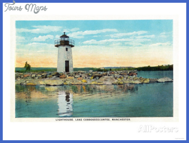 Manchester, Maine - View of Lake Cobbosseecontee and the Lighthouse ...