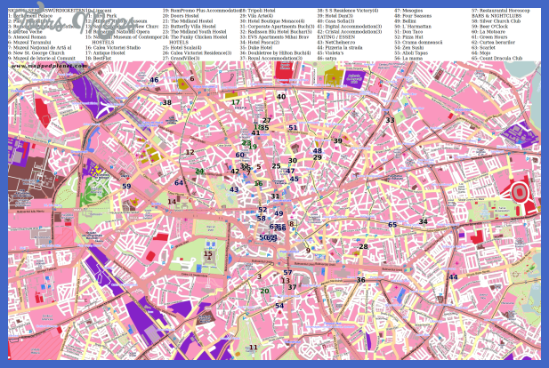 City map Bucharest with points of interest