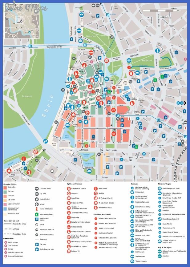 van Dusseldorf | Gedetailleerde gedrukte plattegronden van Dusseldorf ...