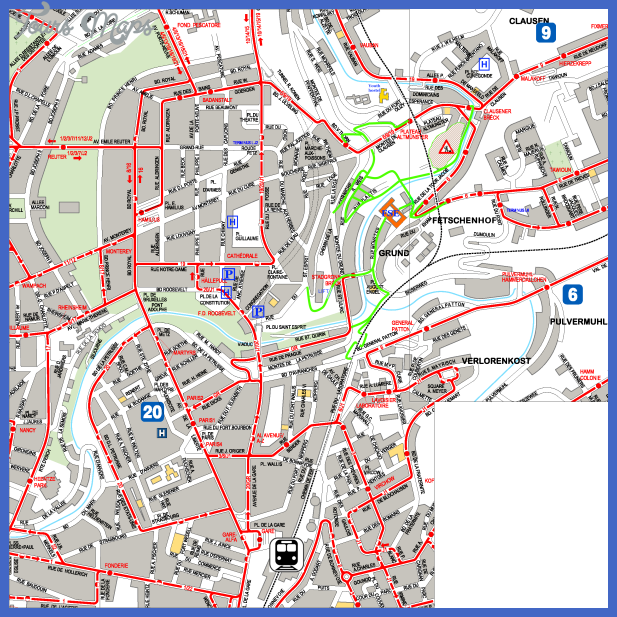 Map of LUXEMBOURG CITY - Map - Travel - Holiday - Vacations