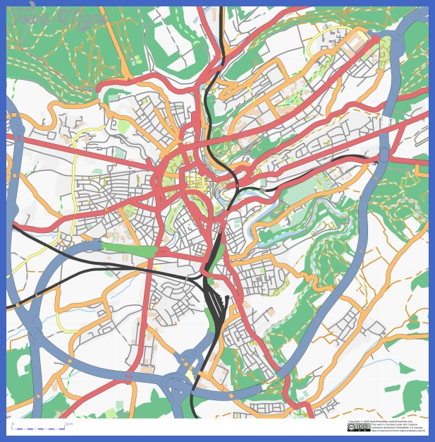 ... road map of Luxembourg city. Luxembourg city large detailed road map