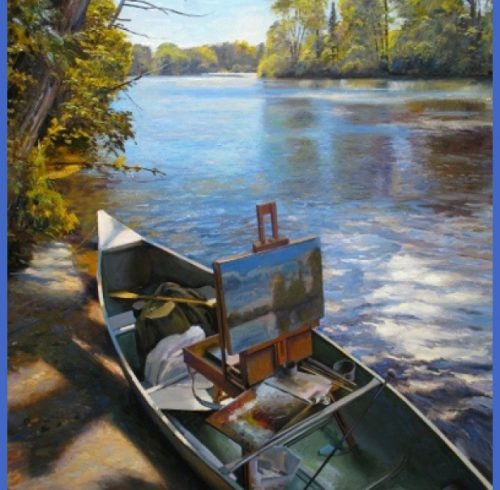 Painting in a Canoe, Nezinscot River in Turner, Maine BY Joel Babb