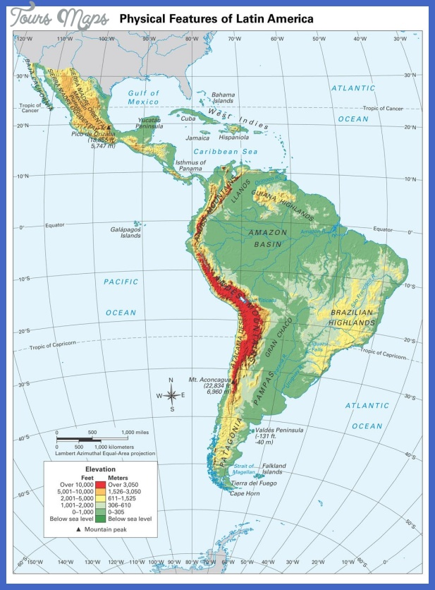 Online Maps: Physical map of Latin America