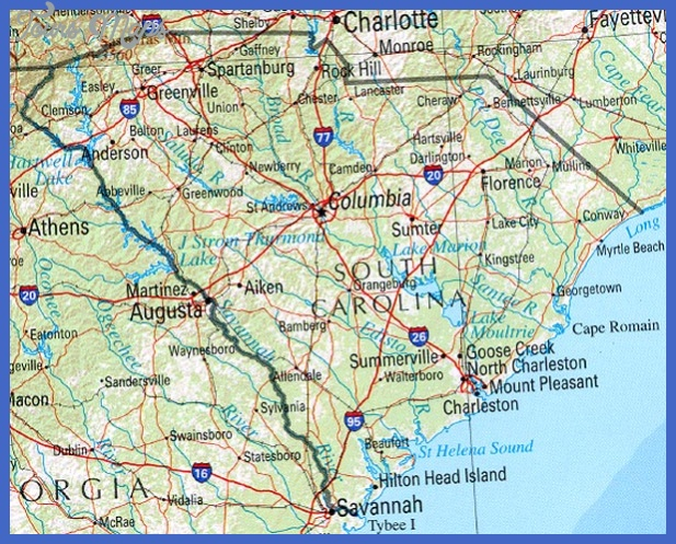 south carolina map tourist attractions 6 South Carolina Map Tourist Attractions