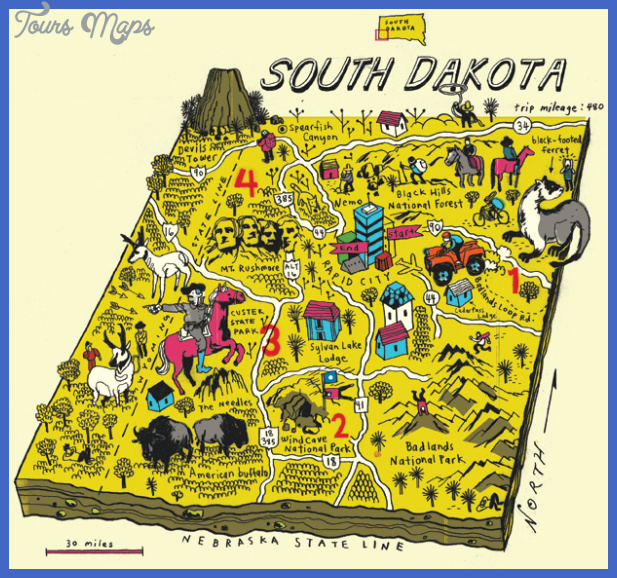 south dakota map tourist attractions 1 South Dakota Map Tourist Attractions