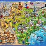 Texas State Map Area Attraction Illustrated map illustration