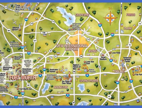 Attractions in Texas Map Dallas Texas Attraction Map