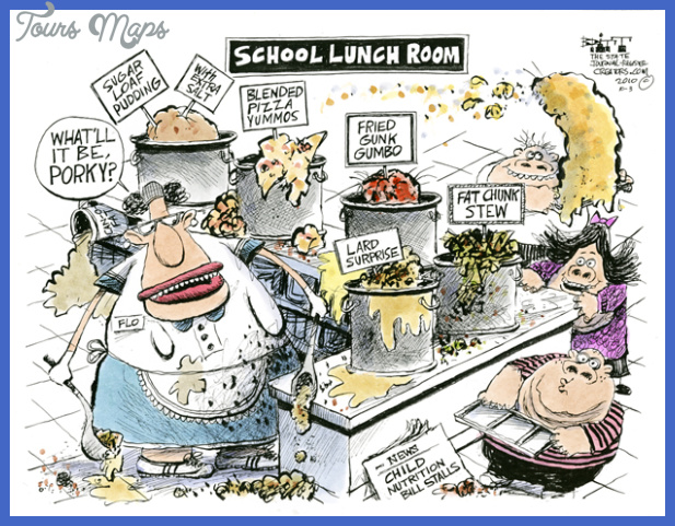 cartoon of the school lunch room