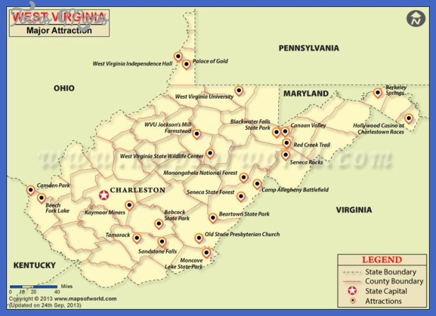West Virginia Map Tourist Attractions - ToursMaps.com ®