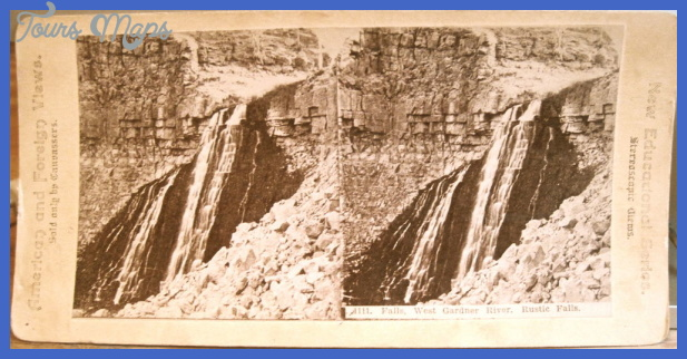 Yellowstone Park Stereoview RUSTIC FALLS West Gardner Gardiner River ...