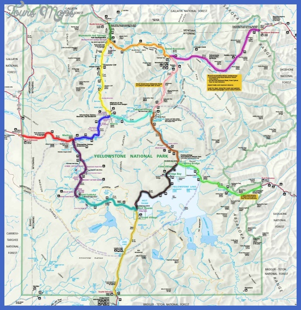 Yellowstone National Park Scenic Drives Locator Map