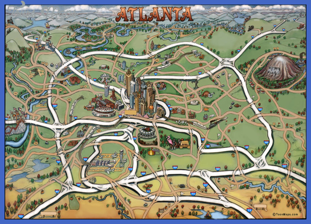 1 atlanta cartoon map kevin middleton Atlanta Map Tourist Attractions