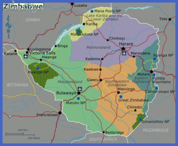 450px zimbabwe regions map v2 Zimbabwe Map Tourist Attractions