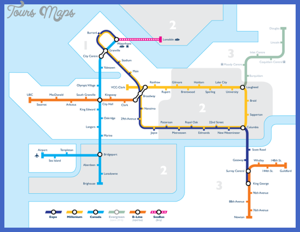 750px vancouver transit network map Vancouver Subway Map