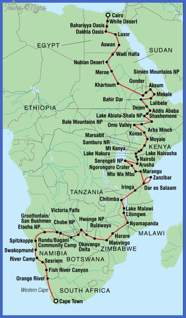 9485 map cape town to cairo 1 Khartoum Map Tourist Attractions
