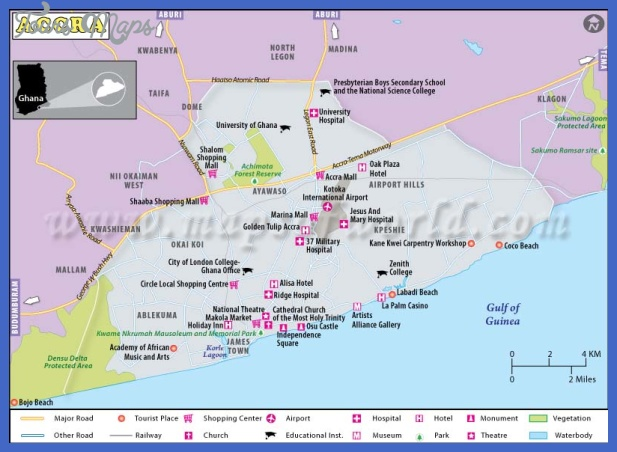 accra ghana map Accra Map Tourist Attractions