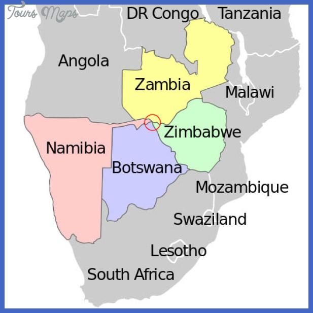 african quadripoint on map botswana namibia zambia zimbabwe Zimbabwe Metro Map
