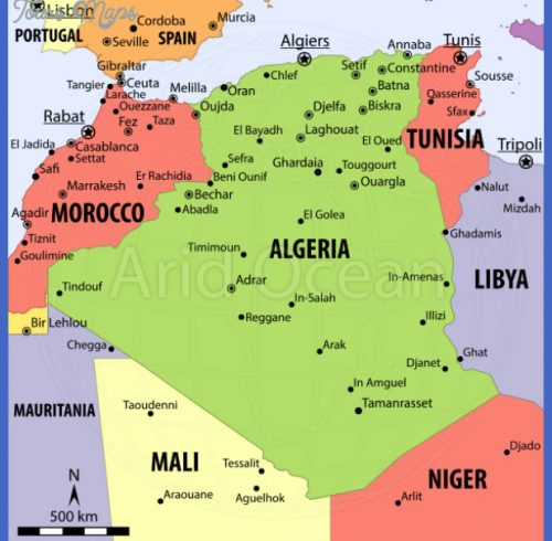 Algeria Map Showing Attractions & Accommodation