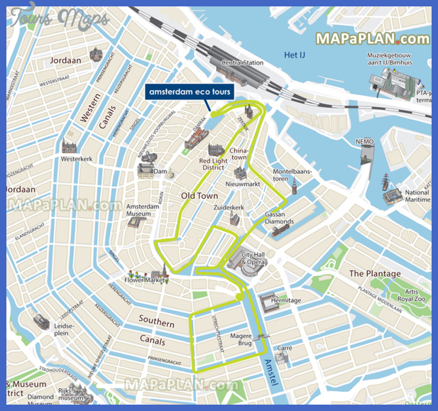 amsterdam top tourist attractions map 15 eco tours canal cruises water routes high resolution Netherlands Map Tourist Attractions