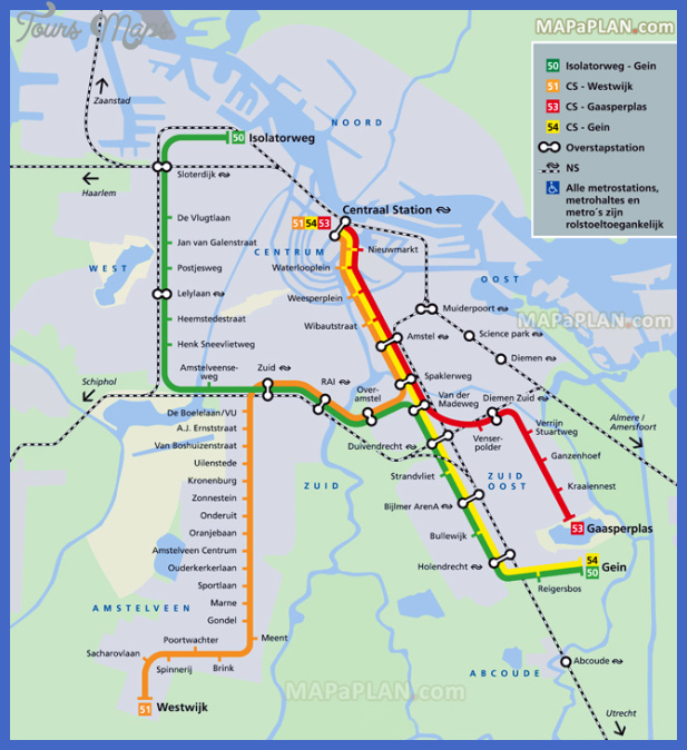 amsterdam top tourist attractions map 18 four metro lines 50 51 53 54 railway nederlandse spoorwegen high resolution Netherlands Map Tourist Attractions