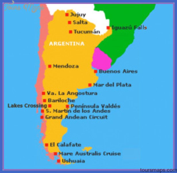 argentina map with tourist attractions