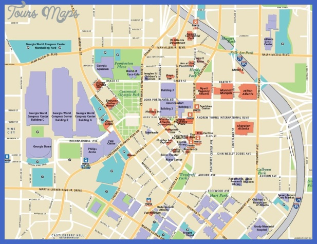 Atlanta Map Tourist Attractions   ToursMaps.®