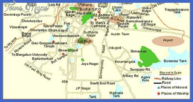 bangalore map2 Bangalore Map Tourist Attractions