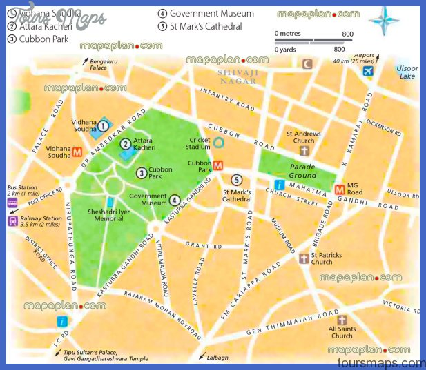 Bangalore Map Tourist Attractions ToursMapscom