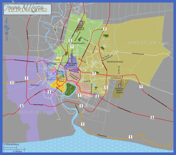 bangkok top tourist attractions map 09 main district neighborhood areas with suvarnabhumi don muang airports high resolution Bangkok Map Tourist Attractions