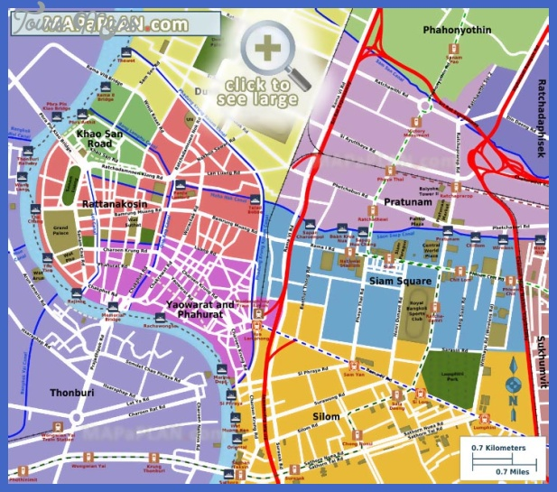 bangkok top tourist attractions map 10 most popular central districts including siam square yaowarat phahurat rattanakosin khao san road Portland Map Tourist Attractions