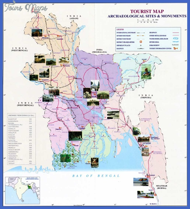 Bangladesh Map Tourist Attractions - ToursMaps.com ®
