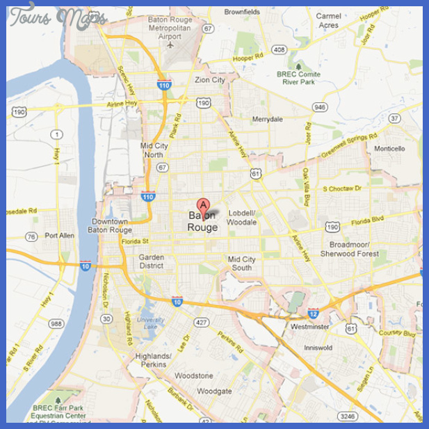 Baton Rouge Map Tourist Attractions ToursMapsCom – Baton Rouge Tourist Attractions Map