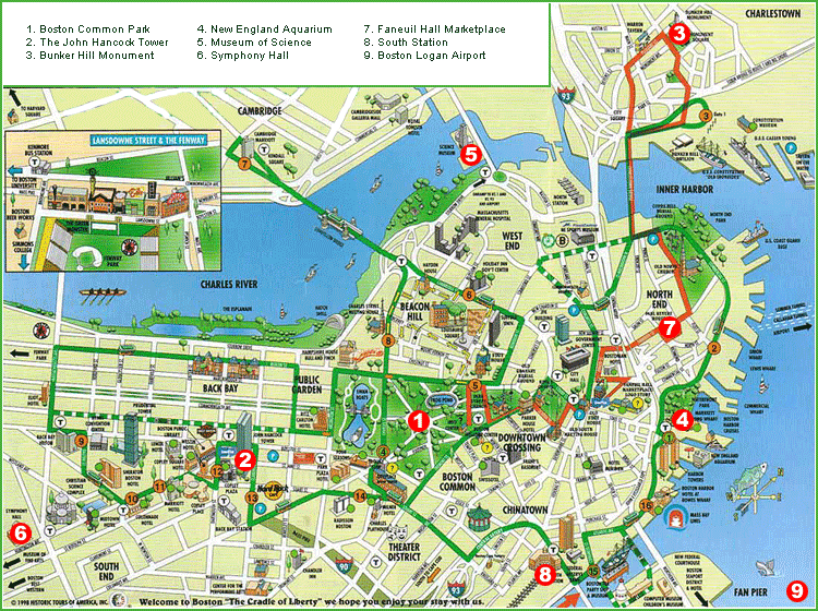 Boston Map Tourist Attractions ToursMapscom