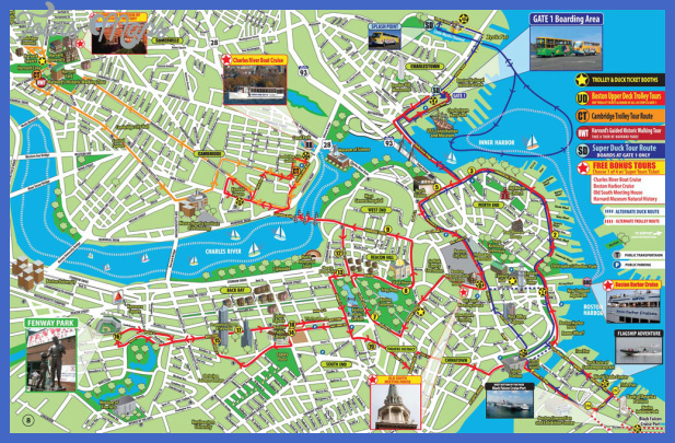 Boston Map Tourist Attractions ToursMapsCom – Boston City Map Tourist