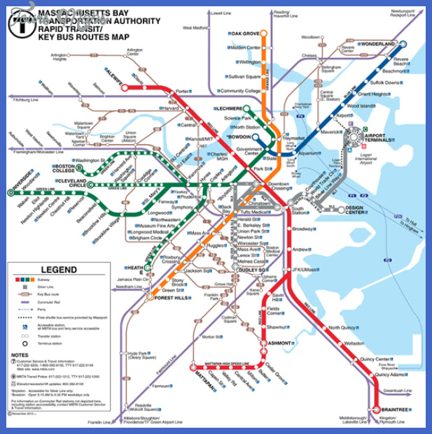 graphic about Printable Map of Boston known as Boston Subway Map - ®