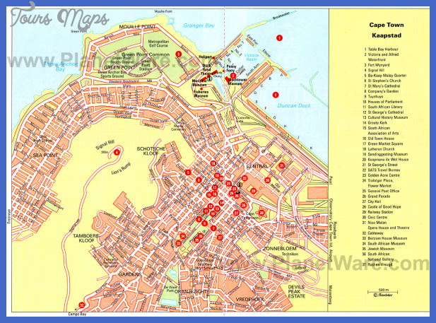 cape town map Cape Town Map Tourist Attractions