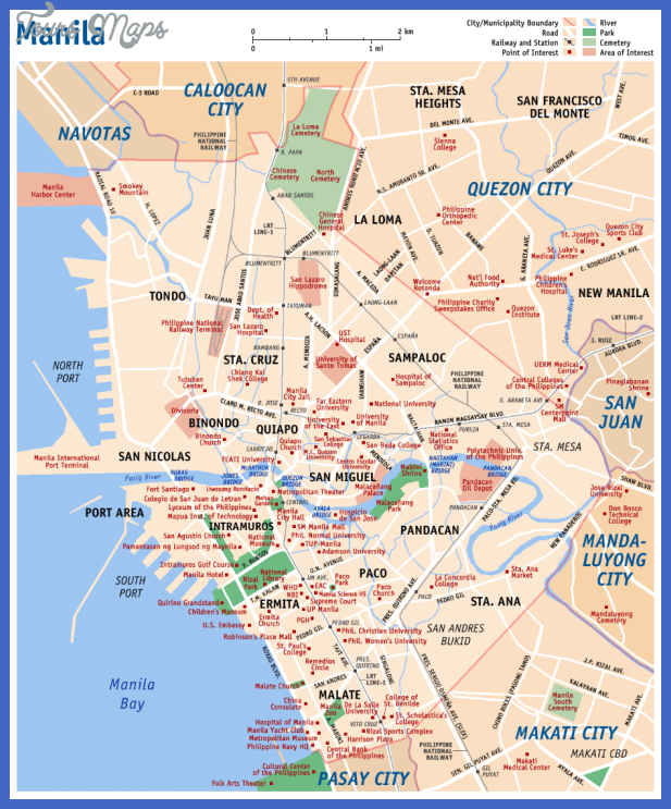 carte manille monuments importants Manila Map