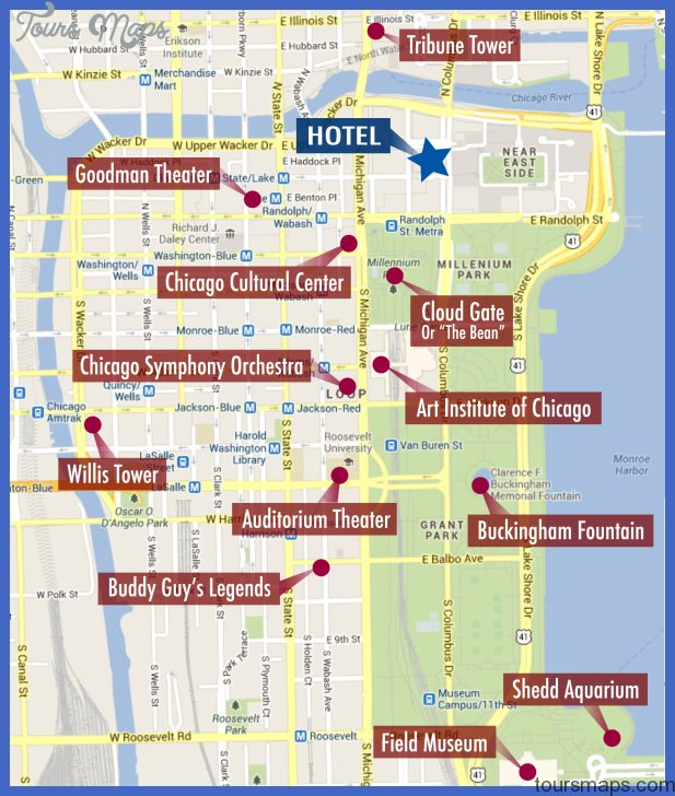 chicago conference map of attractions near hotel Chicago Map Tourist Attractions