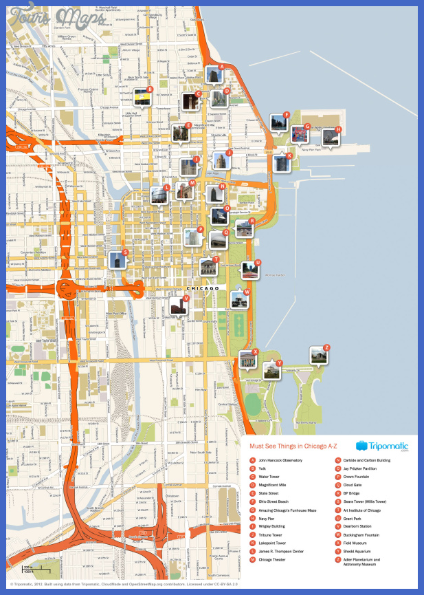 Chicago Map Tourist Attractions ToursMapsCom – Tourist Map Of Chicago